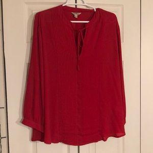 Lucky Brand Tops - Lucky Brand Red Chiffon Blouse